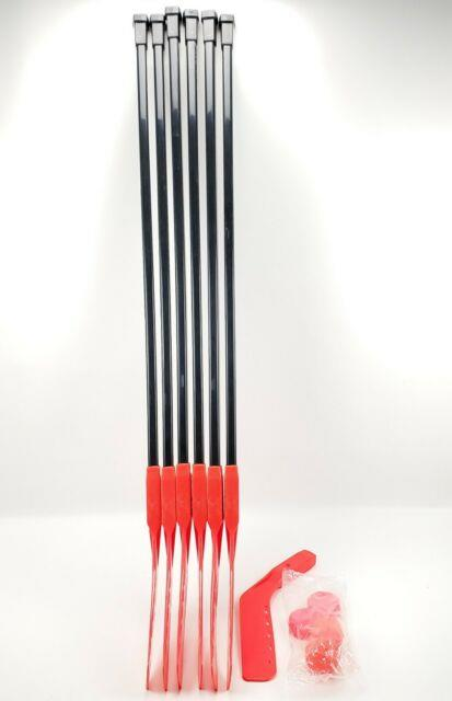 6 Orange Cosom Power Shaft 47 In Hockey Stick With 2 Puck & 2 Ball 1 Extra Blade