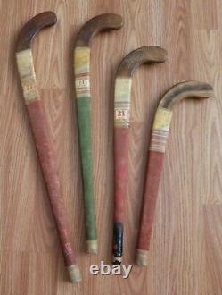 Lot of 4 Vintage Antique Bulldog Wood Field Hockey Sticks