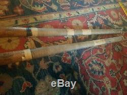 Vintage Bulger Wood Field Hockey Sticks Pair Long Blade Antique Nice